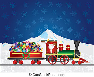Santa Claus on Train with Presents on Night Snow Scene