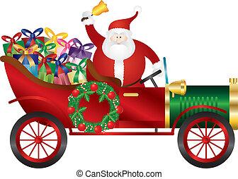 Santa Claus on Vintage Car Delivering Presents Illustration