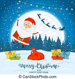 Santa Claus on Winter Background with Gifts and Christmas Lights