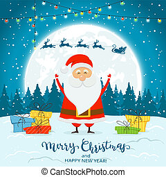Santa Claus on Winter Background with Gifts and Deer