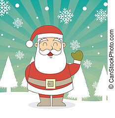 santa claus over snow over vintage background. vector