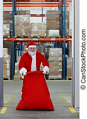 Santa Claus packing sack