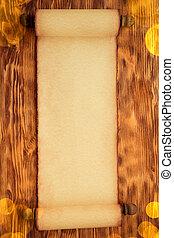 Santa Claus paper scroll on wood
