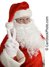 Santa Claus Peace Sign - Santa clause giving a peace sign,...