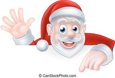 Santa Claus Peeking Over Sign