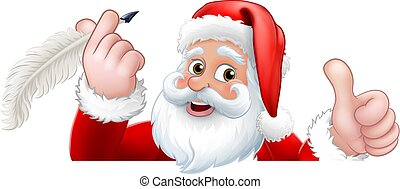 Santa Claus Peeking Quill Pen Cartoon