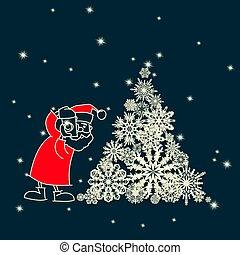 santa claus photographer with snowflakes Christmas tree illustration