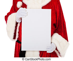 Santa Claus in authentic look holding blank white sign. All...