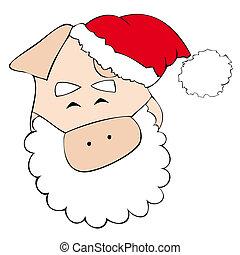 Santa Claus pig smiling.