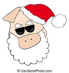 Santa Claus Pig with sunglasses.