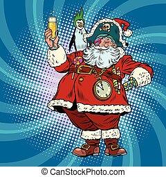 Santa Claus pirate wishes merry Christmas. Pop art retro...