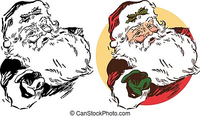 Santa Claus Portrait - Santa Claus extends a hand in a...