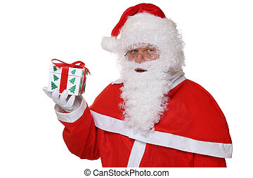 Santa Claus portrait holding Christmas gift isolated
