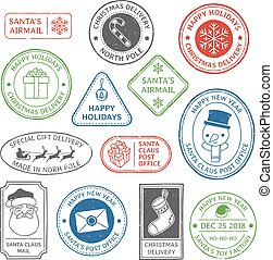 Santa Claus post stamp. Christmas mail letter stamps, north pole postmark and postage mark xmas holiday card label vector set
