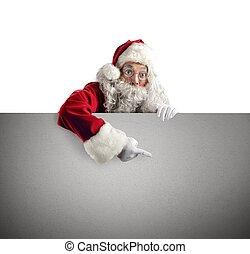 Santa Claus poster - Santa Claus indicate a white xmas...
