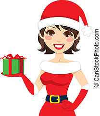 Santa Claus Present - Beautiful woman in Santa Claus...