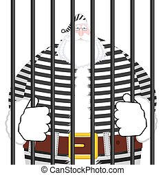 Santa Claus prison in striped robe. Window in prison with bars. Bad Santa criminal. New year is canceled. Christmas Jail
