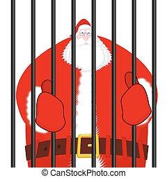 Santa Claus prisoner. Christmas in prison. Window in prison with bars. Bad Santa criminal. New year is canceled. Jail break