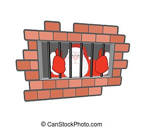Santa Claus prisoner. Christmas in prison. Window in prison ...