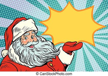Santa Claus promotinal copy space. New year and Christmas. ...