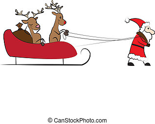 Santa Claus pulling the Christmas s
