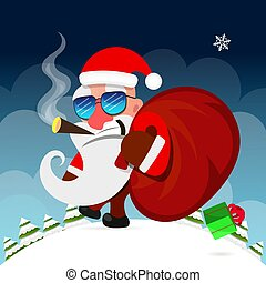 7e7dae5c4b4bd ... Santa Claus pulls a heavy bag full of gifts on winter.