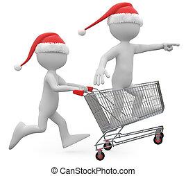 Santa Claus pushing a shopping cart - Man with Santa hat...