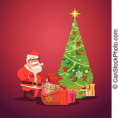 Santa Claus puts presents under Christmas tree. Vector flat illustration