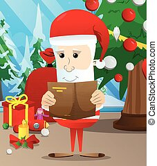 Santa Claus reading a book.