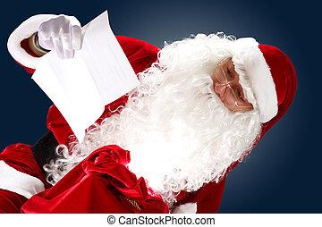 santa claus reading a letter