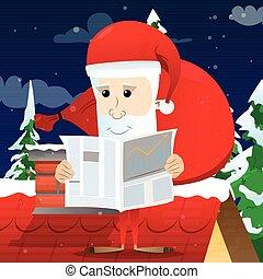 Santa Claus reading newspaper.