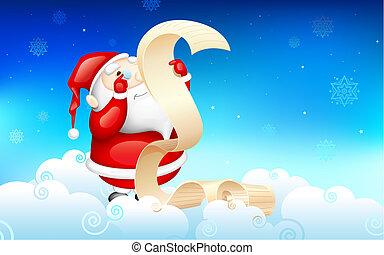 Santa Claus reading wish list - illustration of Santa Claus...