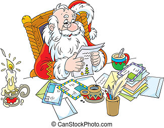 Santa Claus reads letters - Father Christmas reading letters...