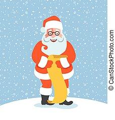 Santa Claus reads Naughty or Nice Kids List