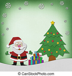 Santa claus recycled paper craft on paper background. -...