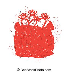 Santa Claus red bag in grunge style. Spray and scratches. Noise and brush strokes. Printing for New Year. Merry Christmas sack with gifts