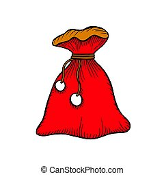 Santa Claus red bag isolated on white.