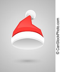 Santa Claus red hat in flat style