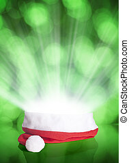 Santa Claus red hat on bokeh background