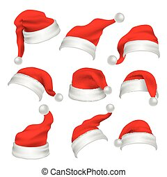 Santa Claus red hats photo booth props. Christmas holiday...