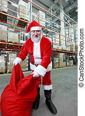 Santa Claus red sack storehouse