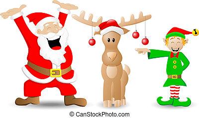 santa claus, reindeer and christmas elf on white