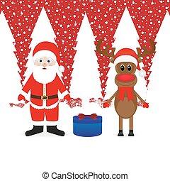 Santa Claus, reindeer