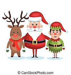 santa claus reindeer and elf christmas