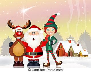 Santa Claus, reindeer and elf - illustration of Santa Claus,...