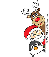 santa claus, reindeer and penguin - vector xmas illustration...