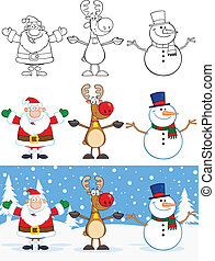 Santa Claus, Reindeer And Snowman Characters Collection Set