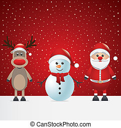 santa claus reindeer and snowman winter snowy