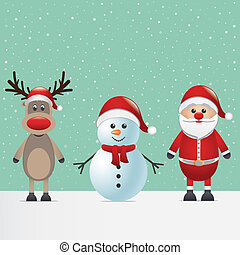 santa claus reindeer and snowman