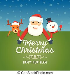 Santa Claus, reindeer and snowman with signboard